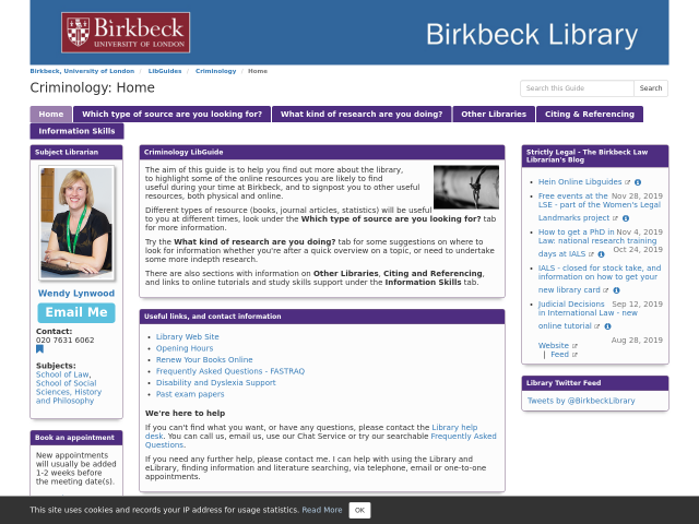 Screen shot of the Criminology libguide homepage